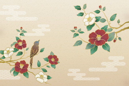 Elegant camellia and bird background with copy space