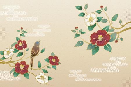 Elegante camelia en vogelachtergrond met exemplaarruimte Vector Illustratie