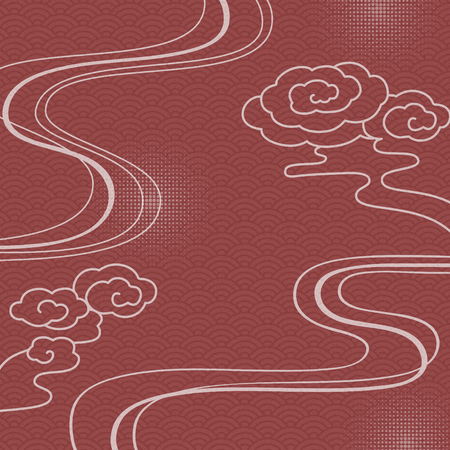 Red traditional background with wave pattern and clouds