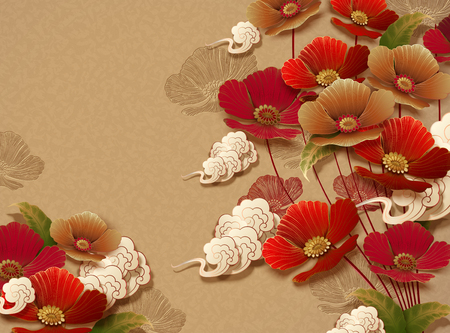 Elegant floral design on golden color background