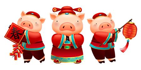 Schöne Schweinchen halten Laternen, Frühlingspaar und Feuerwerkskörper für chinesische Neujahrsfeiertage, weißer Hintergrund