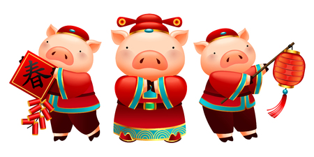 Lovely piggy characters holds lanterns, spring couplet and fire crackers for Chinese new year holiday, white background