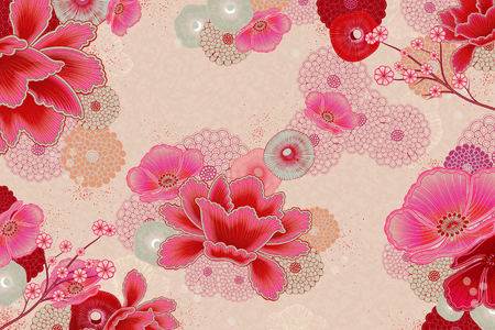 Elegant floral background design in fluorescent pink