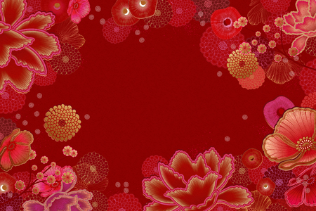 Luxury floral frame background in red and fuchsia tone Imagens - 127219559