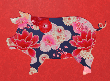 Floral pig silhouette for design uses in fluorescent pink tone Illustration
