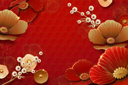 Floral and plum flowers on red background in paper art Reklamní fotografie - 112987686