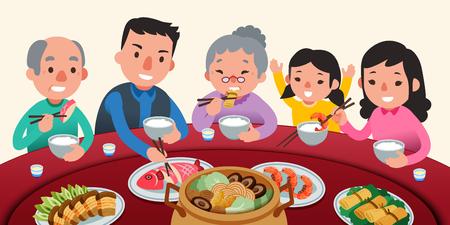 Cena de reunión tradicional con la familia en un encantador estilo plano, deliciosos platos en lazy susan