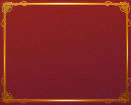 Traditional red background with shiny golden frame
