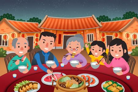 Traditionelles Wiedersehensessen mit der Familie im schönen flachen Stil, Mondneujahrsszene