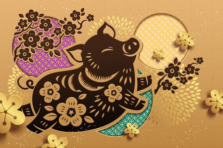 Jumping piggy in Chinese paper art for lunar new year design, golden color background Standard-Bild - 113388453