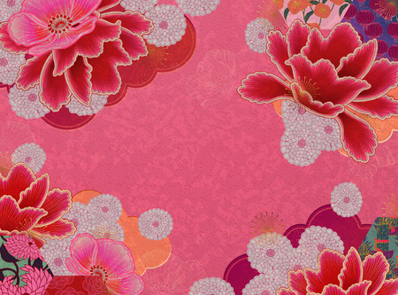 Fluorescent pink floral background with copy space Illustration