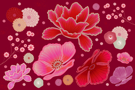 Fluorescent pink and fuchsia floral design element
