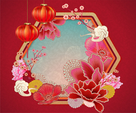 Traditional chinese background with peony and lanterns elements in red tone Çizim