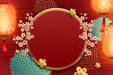 Modello tradizionale di sfondo per poster di capodanno con decorazione di fiori e lanterne