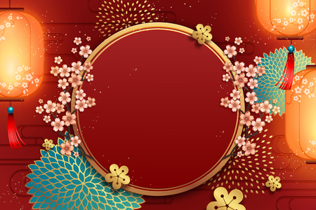 Traditional new year poster background template with flowers and lanterns decoration Illusztráció
