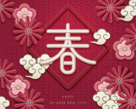 Embroidery style lunar year greeting, spring word written in Hanzi with lovely chrysanthemum and plum flowers
