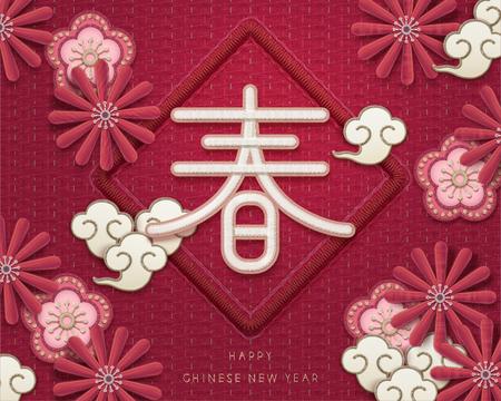 Mondjahresgruß im Stickerei-Stil, Frühlingswort geschrieben in Hanzi mit schönen Chrysanthemen und Pflaumenblüten Vektorgrafik