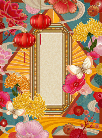 Retro colorful lunar year poster template with copy space