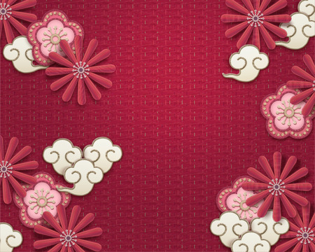 Embroidery plum flower and chrysanthemum background on watermelon red