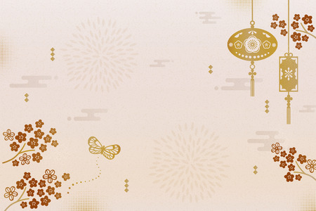 Elegant new year background with hanging lanterns and plum flowers background