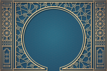 Decorative Chinese window pattern on blue wavy background