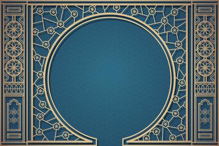 Decorative Chinese window pattern on blue wavy background