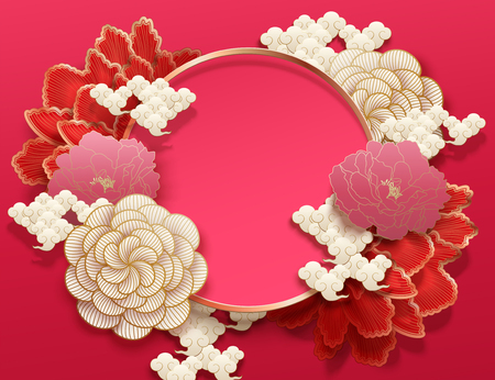 Fuchsia color background with elegant peony flowers in paper art style Illustration