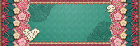 Embroidery style flower banner in turquoise and pink tone