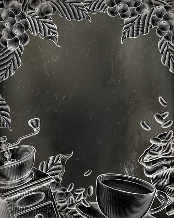 Coffee woodcut style illustration on chalkboard poster  イラスト・ベクター素材