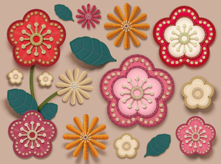 Plum flowers collection in embroidery style for design uses Иллюстрация