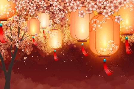 Traditional lanterns and cherry blossoms scenery background Ilustração