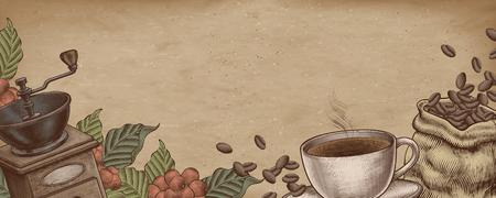 Illustrazione di stile xilografia caffè su carta kraft banner