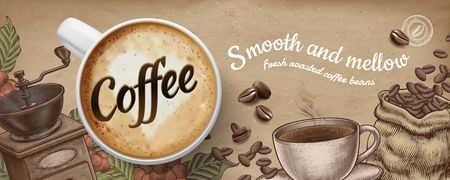 Coffee banner ads with 3d illustratin latte and woodcut style decorations on kraft paper background  イラスト・ベクター素材