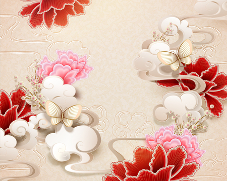 Elegant peony and butterfly background in paper art style Ilustração