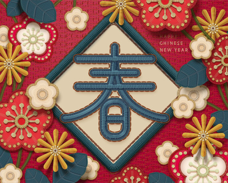 Embroidery style lunar year greeting, spring word written in Hanzi with beautiful flowers