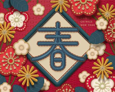 Mondjahresgruß im Stickerei-Stil, Frühlingswort geschrieben in Hanzi mit schönen Blumen