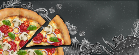 Pizza banner ads with 3d illustration food and woodcut style illustration on chalkboard background