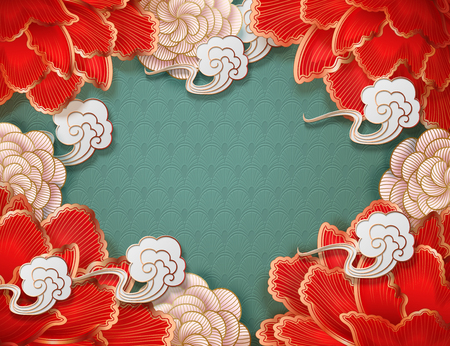 Splendour peony and cloud background in paper art style Ilustrace