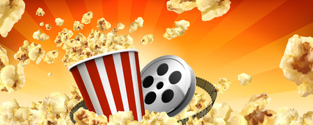 Caramel popcorn banner ads with flying corns and cinema items in 3d illustration Ilustração