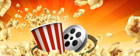 Karamell-Popcorn-Werbebanner mit fliegenden Hühneraugen und Kinoartikeln in 3D-Darstellung Vektorgrafik