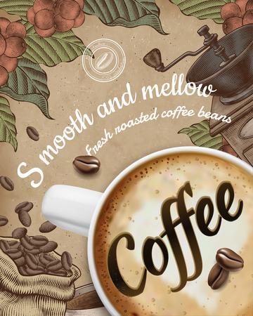 Kaffeeplakatanzeigen mit 3D-Illustratin Latte und Dekorationen im Holzschnittstil auf Kraftpapierhintergrund