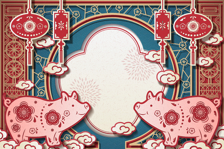 Year of the pig greeting card template design in exquisite paper art style Ilustração