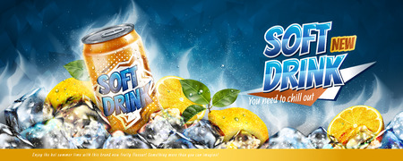 Soft drink banner ads with ice cubes and citrus elements in 3d illustration Stock Illustratie