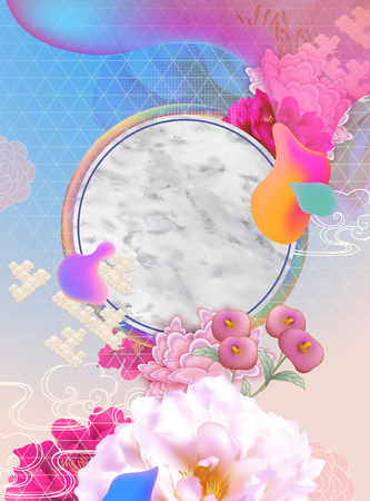 Modern flowing liquid background with marble stone texture plate and flowers