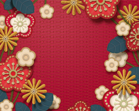 Embroidery decorative floral frame background in red tone Ilustracja