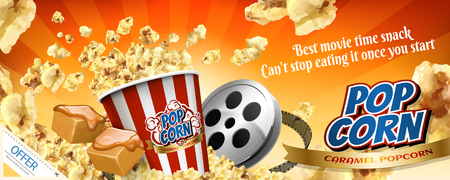 Caramel popcorn banner ads with flying corns in 3d illustration