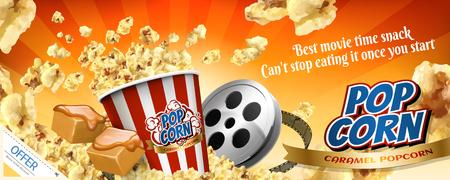 Karamell-Popcorn-Werbebanner mit fliegenden Hühneraugen in 3D-Darstellung