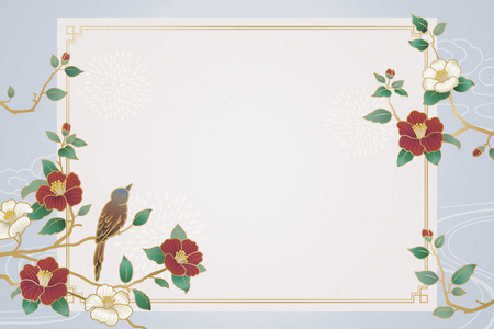 Graceful lunar year background with bird and camellia decorations Çizim