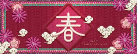 Chinesisches Neujahrsbanner im Stickstil, Frühlingswort geschrieben in Hanzi mit schönen floralen Elementen