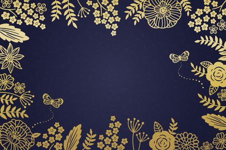 Decorative golden floral frame on dark blue background Ilustração